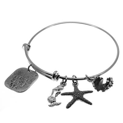 Love Arm Candy: Antique Silver Adjustable Wire Bangle Bracelet With Dreaming Of The Sea Clamshell Mermaid & Starfish Charms | Stacking Charm