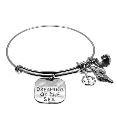 Love Arm Candy: Antique Silver Adjustable Wire Bangle Bracelet With Dreaming Of The Sea Clamshell Seashell & Anchor Charms | Stacking Charm