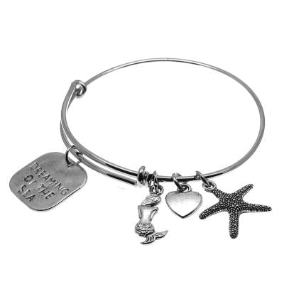 Love Arm Candy: Antique Silver Adjustable Wire Bangle Bracelet With Dreaming Of The Sea Heart Mermaid & Starfish Charms | Stacking Charm --