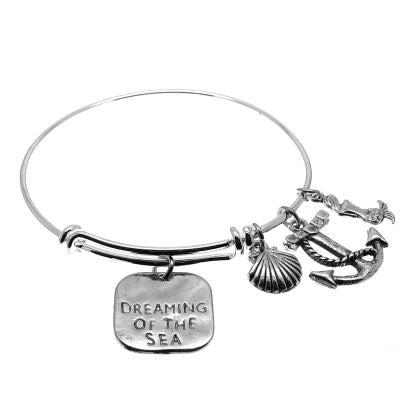 Love Arm Candy: Antique Silver Adjustable Wire Bangle Bracelet With Dreaming Of The Sea Mermaid Seashell & Anchor Charms | Stacking Charm --