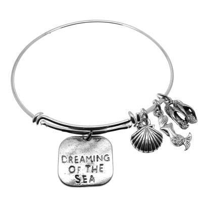Love Arm Candy: Antique Silver Adjustable Wire Bangle Bracelet With Dreaming Of The Sea Mermaid Seashell & Sandals Charms | Stacking Charm