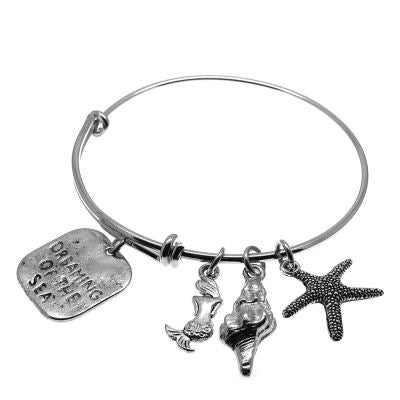 Love Arm Candy: Antique Silver Adjustable Wire Bangle Bracelet With Dreaming Of The Sea Mermaid Seashell & Starfish Charms | Stacking Charm