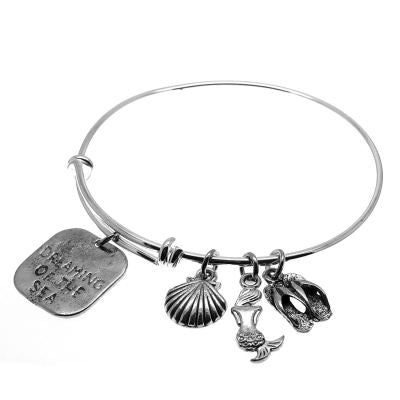 Love Arm Candy: Antique Silver Adjustable Wire Bangle Bracelet With Dreaming Of The Sea Seashell Mermaid & Sandals Charms | Stacking Charm