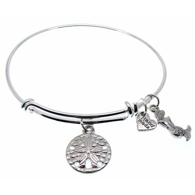 Love Arm Candy: Antique Silver Adjustable Wire Bangle Bracelet With Sand Dollar Mermaid & Heart Charms | Stacking Charm -- 63000-3