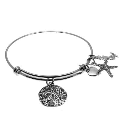 Love Arm Candy: Antique Silver Adjustable Wire Bangle Bracelet With Sand Dollar Mermaid Starfish & Heart Charms | Stacking Charm -- 63600