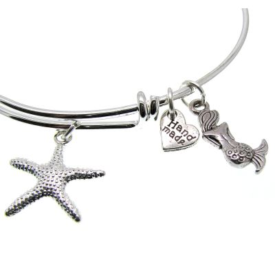 Love Arm Candy: Antique Silver Adjustable Wire Bangle Bracelet With Starfish Mermaid & Heart Charms | Stacking Charm -- 63000-1