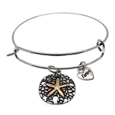 Love Arm Candy: Antique Silver Wire Bangle Bracelet With Starfish Charm | Stacking -- 63505-1