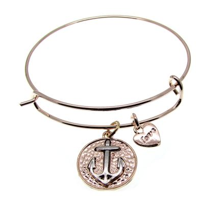 Love Arm Candy: Rose Gold Wire Bangle Bracelet With Anchor Charm | Stacking -- 04343-6