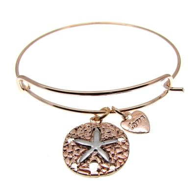 Love Arm Candy: Rose Gold Wire Bangle Bracelet With Starfish Charm | Stacking -- 63508-7