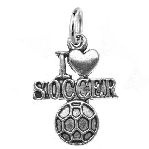 Silver I Love Soccer Charm with Jump Ring at Baubles Of Fun
