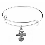 Silver I Love Soccer Charm on Bangle Bracelet at Baubles Of Fun