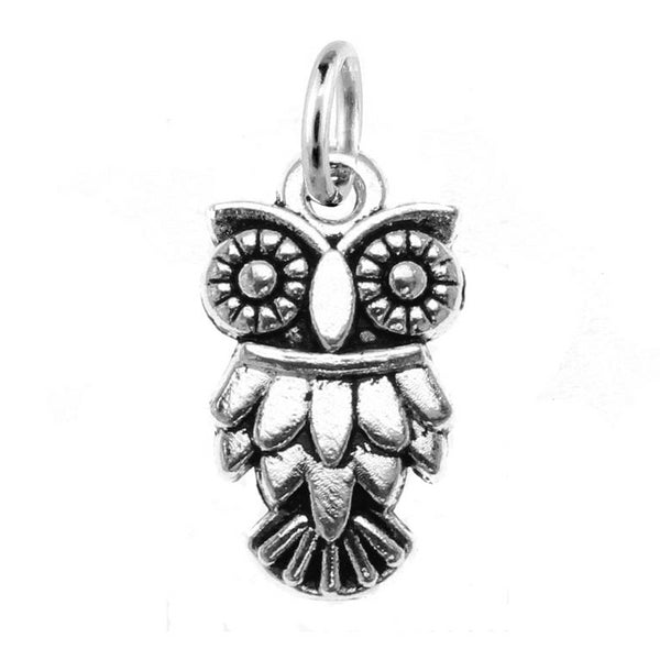 silver owl charm with jump ring at Baubles Of Fun