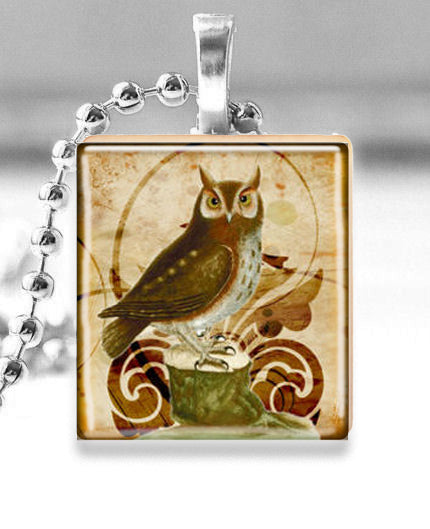 Scrabble Tile Pendant with Silver Ball Chain Necklace (Vintage Owl)