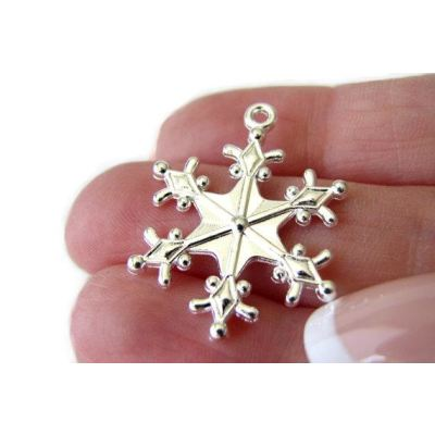 Shiny Silver Snowflake Charms | Frozen Snow Winter