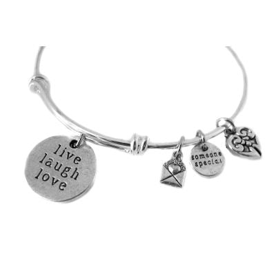 Silver Charms: 10 Antique Live Laugh Love -- 26825.c6