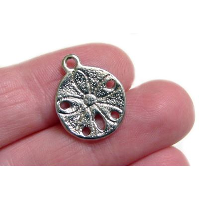 Silver Charms: 10 Antique Sand Dollar | Beach Pendants -- 017.h4D