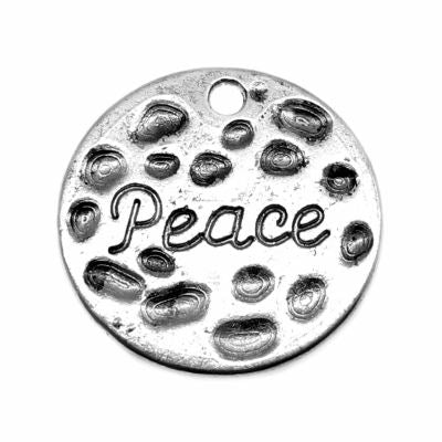 Silver Charms: 10 Antique Stamped Peace | Ox Round Coin Pendants -- 033.b14