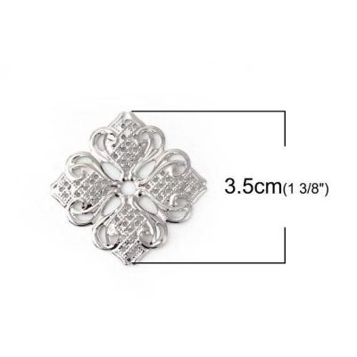 Silver Filigree Embellishments / Metal Jewelry Stampings
