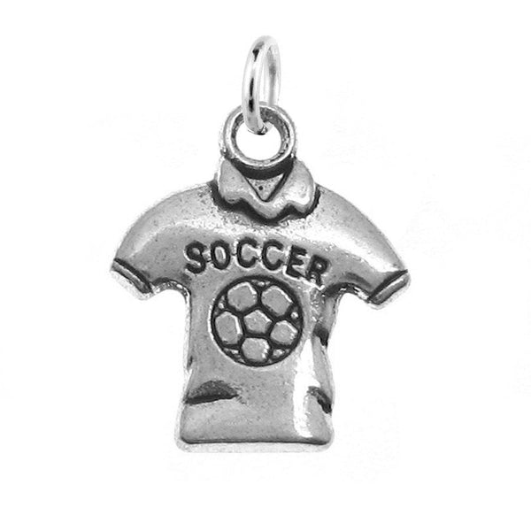 Silver Soccer Jersey Charm with Jump Ring at Baubles Of Fun