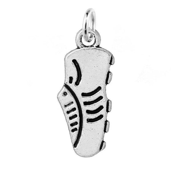 Silver Soccer Cleat Charm with Jump Ring at Baubles Of Fun