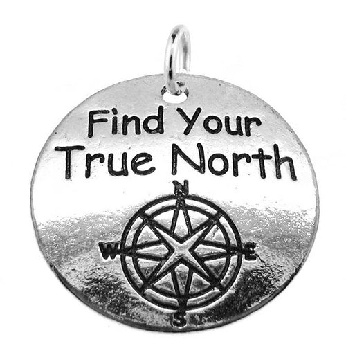 "Antique Silver Stamped ""Find Your True North"" Compass Inspirational Charm with Jump Ring"