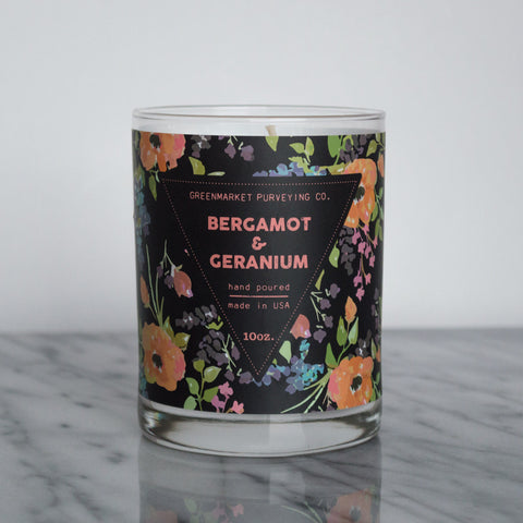 Bergamot and Geranium Candle ~ 10 oz.