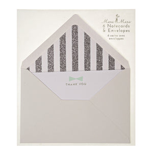 Light Aqua Bow Thank You Note Card Set