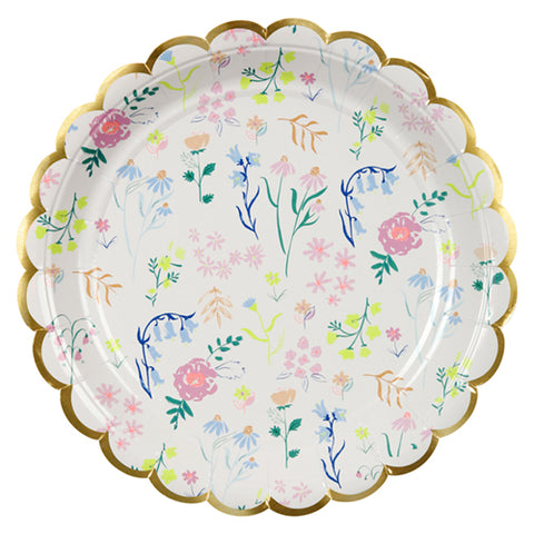 large wildflower party plates, paper plates