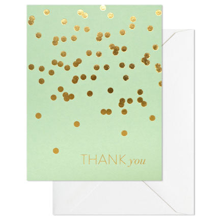 mint and gold thank you card