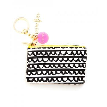 black and white frills zip pouch