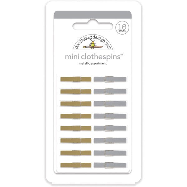 metallic silver and gold mini clothespins