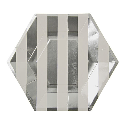 silver and white striped party plates