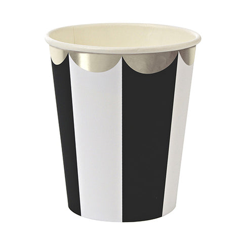 Toot Sweet Black and White Stripe Cups