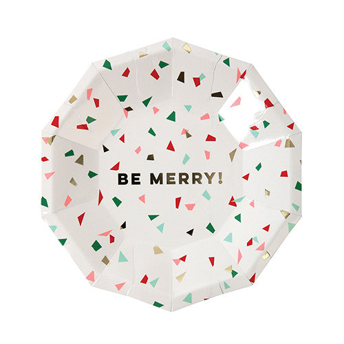 Be Merry Confetti and Foil Small Paper Plates