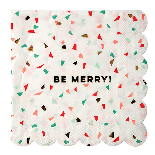 Be Merry Confetti and Foil Large Napkins