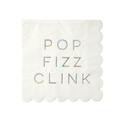 pop fizz clink holographic napkins