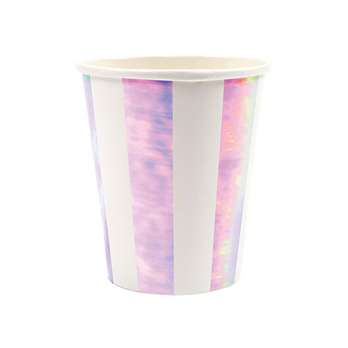 pink and white iridescent party cups