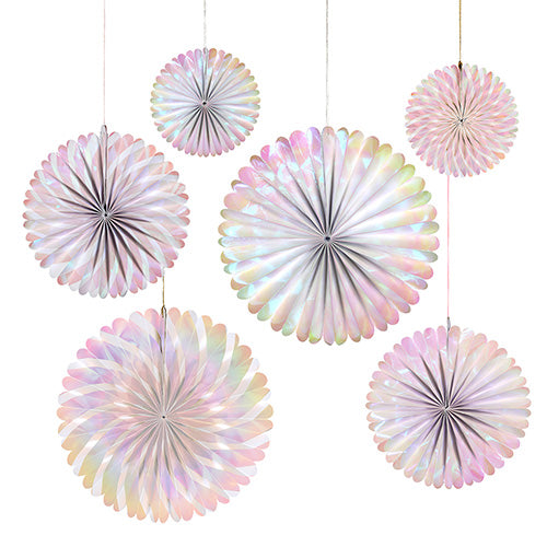 pink and white iridescent party fans