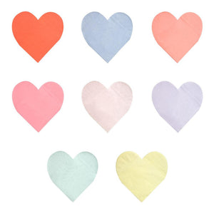 large rainbow heart paper napkins