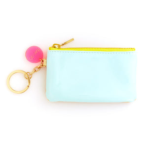 mermaid and gold zip key chain pouch