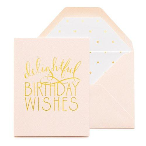pink and gold delightful birthday wishes card