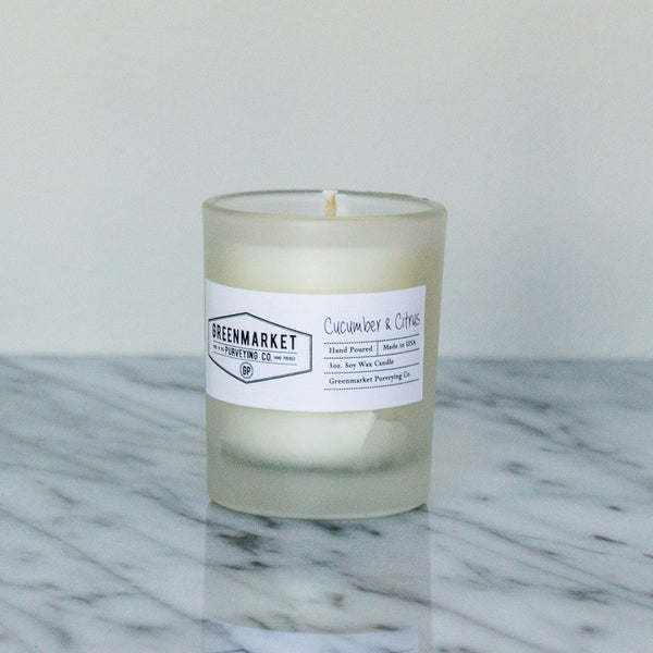 Cucumber and Citrus Glass Tumbler Candle ~ 3 oz.