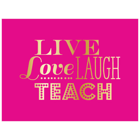 pink and gold live love laugh teach note cards