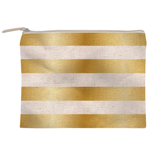Gold Striped Canvas Zipper Pouch Large