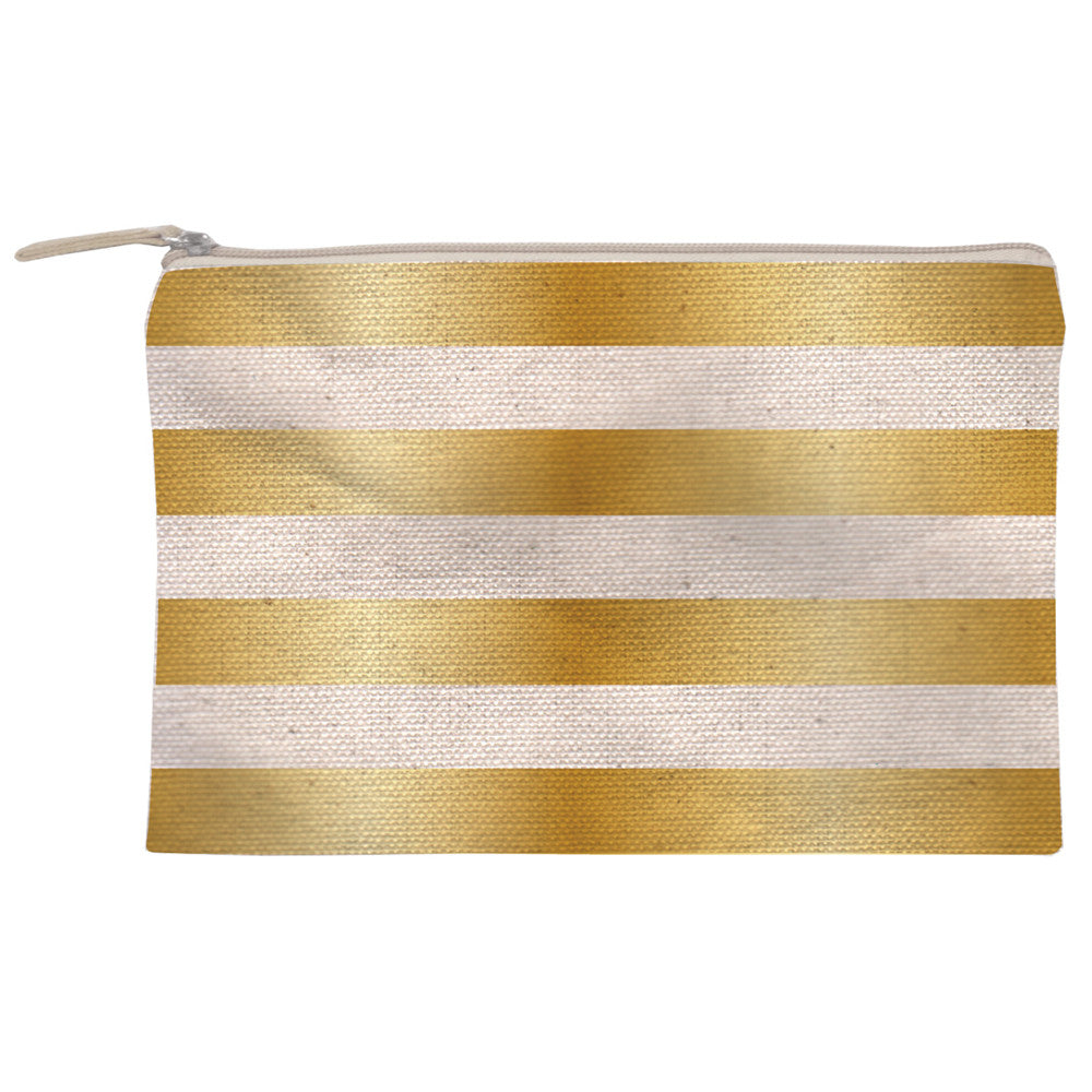 Gold Striped Canvas Zipper Pouch Small