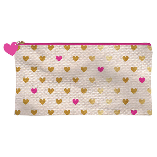 Gold and Pink Hearts Pencil Case
