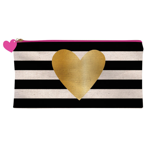 Gold Heart Pencil Case