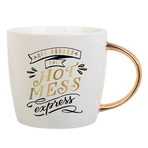 all aboard the hot mess express mug