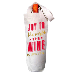 Joy To The World The Wine Is Served Canvas Wine Tote