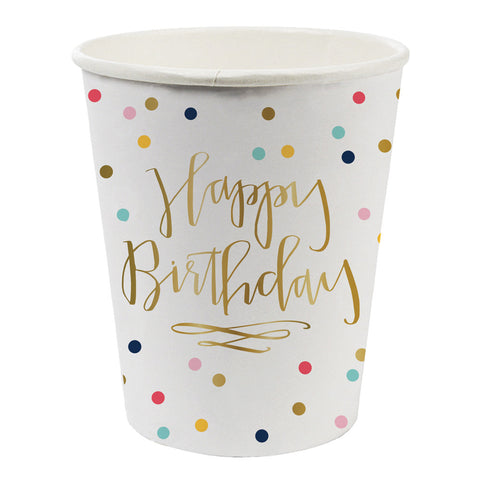 Happy Birthday Polka Dot Paper Cups
